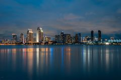 View of the downtown San Diego skyline at night, from Coronado, California stock photography