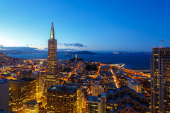 View of downtown san francisco at dusk stock photo