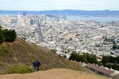 View of downtown San Francisco from Twin Peaks. View of San Francisco, California from above from the Twin Peaks scenic viewpoint overlooking downtown and the Royalty Free Stock Photo