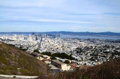 View of downtown San Francisco from Twin Peaks. View of San Francisco, California from above taken at the Twin Peaks scenic viewpoint overlooking downtown Stock Image