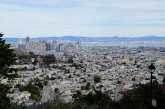 View of downtown San Francisco from Twin Peaks. View of San Francisco, California from above taken at the Twin Peaks scenic viewpoint overlooking downtown Royalty Free Stock Image
