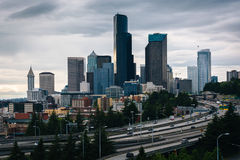 View of downtown Seattle  from the Jose Rizal Bridge, in Seattle Stock Images