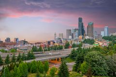 View of downtown Seattle skyline royalty free stock image