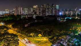 View of the Downtown Singapore skyline, night scene time lapse with traffic stock video