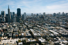 View of the downtown skyline from Coit Tower in San Francisco  Stock Photo