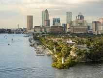 View of downtown Tampa, Florida from the port. View of downtown Tampa, Florida and luxury homes from the harbor royalty free stock photography