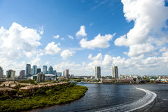 Downtown Tampa Florida. View of downtown Tampa Florida and the water way stock photo