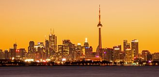 Toronto Skyline From Humber Bay Park West. View of the downtown Toronto, Ontario, Canada skyline across Lake Ontario from Etobicoke Point in Humber Bay Park West stock photo