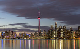 View of Downtown Toronto skyline illuminated after sunset. Stock Photography