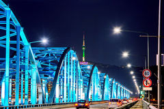 View of downtown traffic at Dongjak Bridge and Seoul tower over Han river in Seoul, Korea. Stock Photos