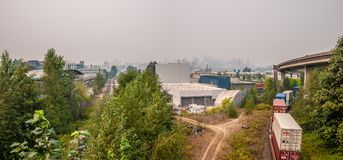 View of Downtown Vancouver from Commercial Drive stock photography
