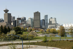 View of Downtown Vancouver from Main street bridge. And seaside park Royalty Free Stock Images