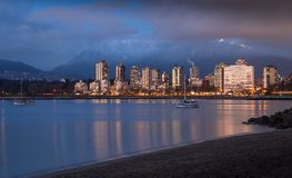 A view of Downtown Vancouver`s West End at sunset. stock photo