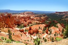 View of the dramatic red landscape Bryce Canyon National Park. Stunning view of the hoodoos, red rocks and green ponderosa pines landscape of Bryce Canyon Stock Photos