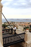 View from drawbridge near Notre Dame de la Garde, Marseille Stock Photo