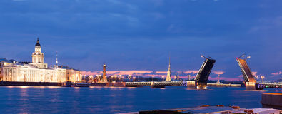 View of the drawn bridge in the city of St. Petersburg Royalty Free Stock Image