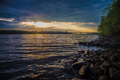 View on the Drepr Dnieper river and cityscape at. View on the Drepr Dnieper Dnipro river and cityscape at evening in Kiev, Ukraine Stock Photos