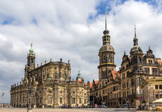 View of Dresden castle and Cathedral - Germany Royalty Free Stock Photo