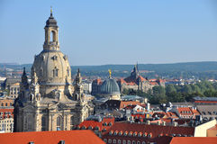 View of Dresden city with Frauenkirche Stock Image