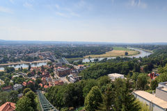 View of Dresden cityscape with Dresden Suspension Railway tracks, river Elbe and church Frauenkirche Stock Photos