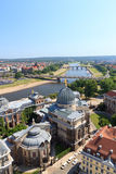 View of Dresden cityscape with river Elbe, Bruhl's Terrace, art academy and Saxony state ministry of finances Stock Photo