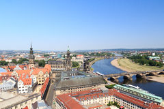 View of Dresden cityscape with river Elbe, Saxon Standehaus, church Dresden Cathedral and tower Hausmannsturm Stock Photography
