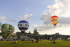 View of Dresden with colorful hot air balloons in  Royalty Free Stock Photo