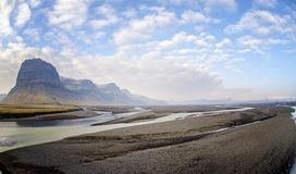 Scene while driving Ring road Iceland royalty free stock image