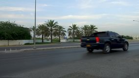View driving on the city of Muscat Roads, Oman, Middle East, GCC Vehicle point-of-view driving on Muscat Coastal highway beach ro. Ad Azaiba and Ghubra stock video