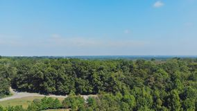 View from drone above trees at park and woods suburbs with blue sky. Scenic view of the amazing park in summer stock footage