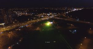 View from the drone of a crowd of people at the concert Royalty Free Stock Images