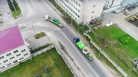 The view from the drone, the movement of the column, rotation, shipping, road, highway, camera movement from left to right.