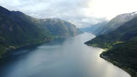 View to fjord and water from drone in Norway Stock Photo