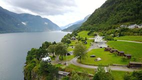 View to fjord and water from drone in Norway Royalty Free Stock Photos