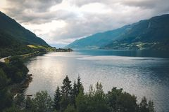 View to fjord and water from drone in Norway Stock Photos