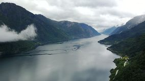 View to fjord and water from drone in Norway Stock Image