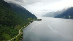 View to fjord and water from drone in Norway Royalty Free Stock Images