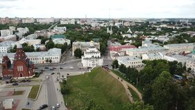 View from drones of city center and Golden Gate in Vladimir, Russia