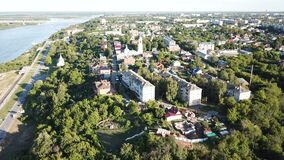 View from drones of historical part of the Murom with Oka River