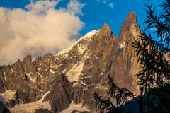 View of Dru Peak in Chamonix, Alps, France Stock Image
