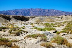 View of the dry mountain river and mountains royalty free stock image