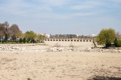 View of dry river bed and Si-o-se bridge Stock Photography