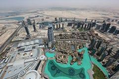 View of dubai from Burj Khalifa skyscraper Stock Photography