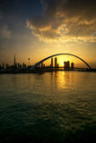A view of Dubai Canal and Dubai Skyline Royalty Free Stock Photo