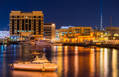 View of Dubai Creek in the evening Stock Image