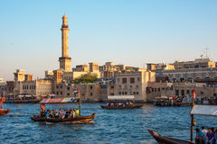 The view of Dubai Creek. This image was taken in Deira, Dubai. Dubai Creek have 2 sides, one is Deira, another one is Bur Dubai. Abras boat is the cheapest Stock Photos