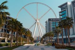 View of Dubai Eye on Bluewaters Island, Dubai royalty free stock images