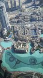 View on Dubai Fountain from the lookout Burj Khalifa. royalty free stock photo