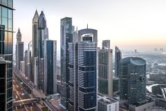 View of Dubai International Financial District at sunrise. royalty free stock photography