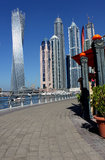 View of Dubai Marina. Along the sea shore with walking plaza and restaurants, Dubai. UAE Royalty Free Stock Image